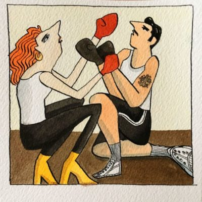Couple Boxing in a Box