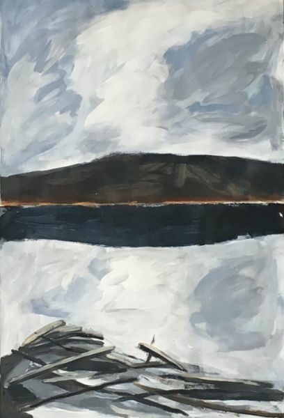Hudson River Winter   30 x 44  acrylic on paper