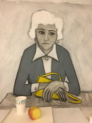 The Waiting Room  charcoal, acrylic on paper - real cup and apple