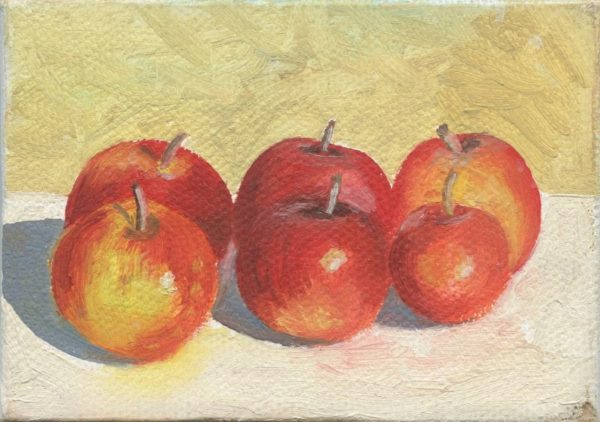 Six Apples    2.5 x 3.5     oil on canvas