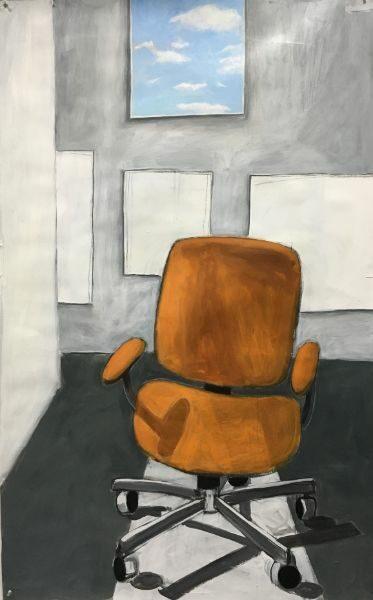 """Orange Studio Chair 35""""x 55""""   acrylic on paper"""