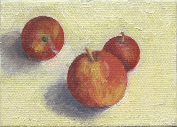 "Three Apples 2.5"" x 3.5""    oil on 'canvas'"