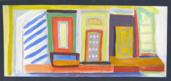 Storefront  8 x 22  acrylic on paper