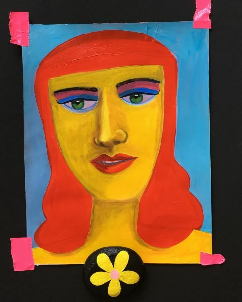 Goddess  acrylic on paper, here with painted rock and duck tape