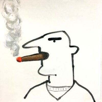"Sam and Cigar  12.5""x 12.5""  handpainted print, ink and acrylic"